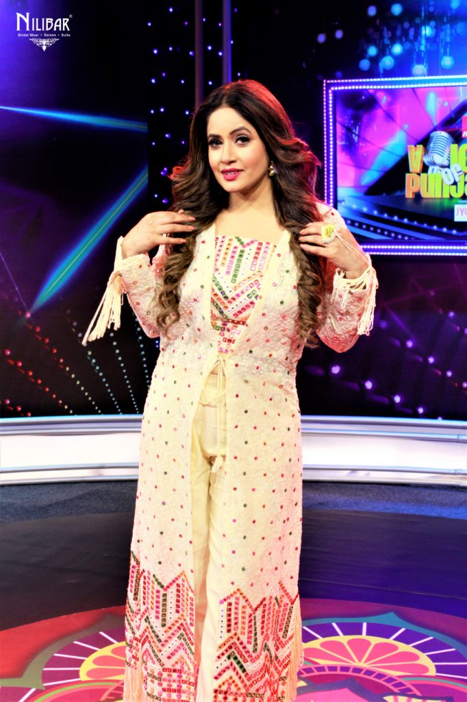 Miss Pooja in Our Cream Jacket Style Suit